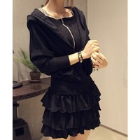 New Fashion Hoodie Dress Long Sleeves Zipper Pleating Black Cotton Black One Size Casual Dress @H4189b