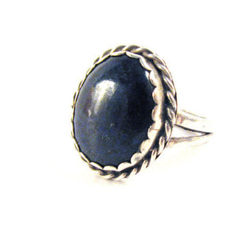 Midnight Blue Lapis and Silver Ring by colorsoulartistry on Etsy