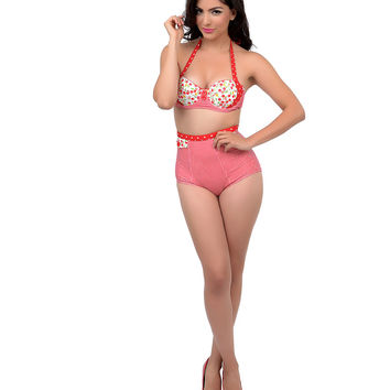 Vintage Pin Up Style Red & White Gingham & Dot Cherry Pie High Waisted Halter Two Piece Bikini