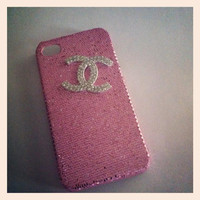 Pink glitter iphone 4/4s case with rhinestone Chanel logo