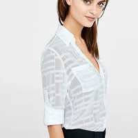 Slim Fit Sheer White Plaid Portofino Shirt from EXPRESS