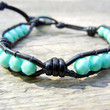 Beaded Leather Single Wrap Bracelet with Green Turquoise Czech Glass Beads on Knotted Black Leather