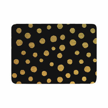 "Nika Martinez ""Golden Dots in Black"" Yellow Memory Foam Bath Mat"