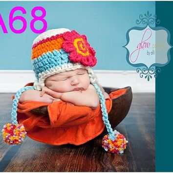 free shipping,20pcs/lot New Baby Beanie handmade crochet Hat with Cute Flowers Christmas Gift for Girl's Flower Beanie hat