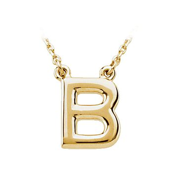 Block initial Necklace in 14k Yellow Gold, Letter B