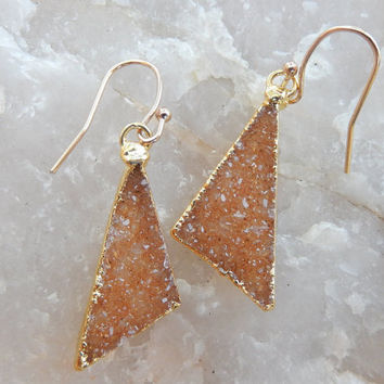 Orange Druzy Triangle Earrings 14K Gold Crystal Quartz Drusy - Free Shipping Jewelry