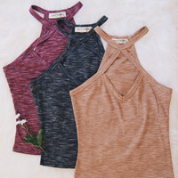 Diana Cross Strap Knit Tank (Black, Taupe, Wine)