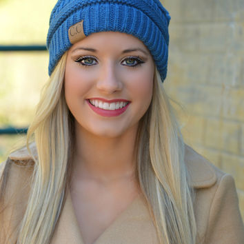 Dark Denim Slouchy Knit Beanie