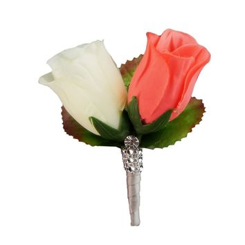 Coral Ivory rose boutonniere with Gray ribbon and bling