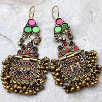 Vintage Afghan Kuchi Earrings Tribal Carved Pendant Jewelry Ethnic Dance Boho