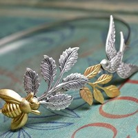 Bird and bee headband bridal garden leaf head piece