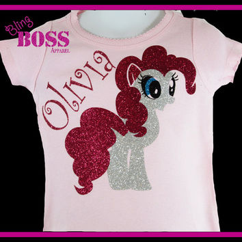My Little Pony Name Shirt Custom Bling Glitter Sparkle Name Birthday Personalized Girl Toddler Baby Pink Hot Pink Silver
