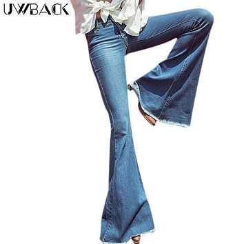Uwback Flare Jeans Women 2017 New Brand Skinny Flared Jeans For Women Washed Dark Blue Bell Botton Retro Slim Jeans Mujer TB1270