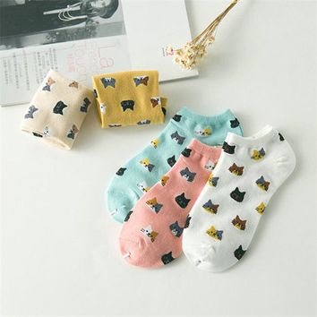 Cute Cartoon Cat Face Invisible Tube Socks Funny Crazy Cool Novelty Cute Fun Funky Colorful