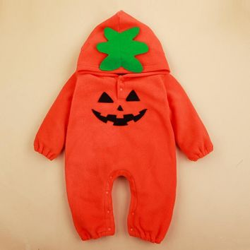 babzapleume Halloween Costume For Baby Boys Girls Rompers Kids Clothes Fleece Pumpkin Infant Jumpsuits Newborn Clothing BC1342