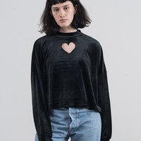 Lazy Oaf Black Velvet Heart Hole Long Sleeve T-shirt