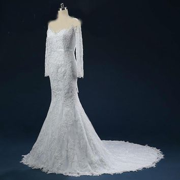 Sequins Beading Lace-up Back Mermaid Wedding Dresses with Long Sleeves V-neck Appliques Court Train