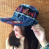 Tribal Boho Cap Festival hat Aztec Ikat blue print Men women Street Wear baseball cap Hippie Festival accessories fashion gift for men women