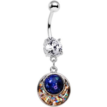Clear CZ Gem Mysterious Galaxy Glitter Mosaic Inlay Dangle Belly Ring