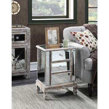 Gold Coast Vineyard 3 Drawer Mirrored End Table | Overstock.com Shopping - The Best Deals on Coffee, Sofa & End Tables