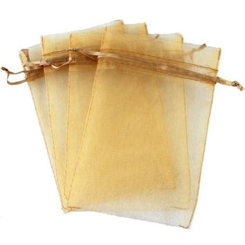 "Lot of 50 4"" x 6""Drawstring Organza Pouch Strong Wedding Favor Gift Candy Bag (gold)"