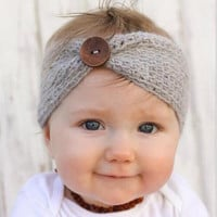Cute Baby Headband Soft And Comfortable Knitting Hair Band Baby Girls Head Wrap Button Headwear Kids Hair Accessories