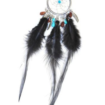 Dreamcatcher Feather Necklace Black Turquoise NL06 Beaded Silver Tone Faux Leather Native American Style