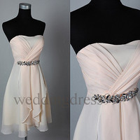 Custom Light Pink Short Beaded Bridesmaid Dresses 2014 Prom Dresses Fashion Evening Gowns Party Dress Cocktail Dress Wedding Party Dress