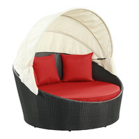 LexMod Siesta Outdoor Wicker Patio Espresso Canopy Bed with Red Cushions