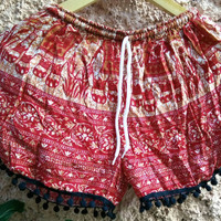 Pom pom Shorts Boho Hobo Elephants print hippie clothing Aztec Ethnic Bohemian Ikat Fashion Unique Beach clothes Cute Summer for Women Red