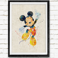 Mickey Mouse Watercolor Art Print, Disney Baby Boy / Girl Nursery Room Poster, Kids Decor Home Decor, Not Framed, Buy 2 Get 1 Free