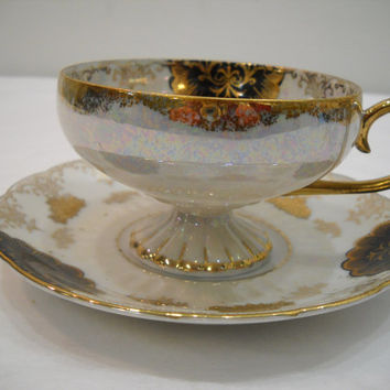 Vintage Royal Halsey LM Tea Cup And Saucer Black And Gold