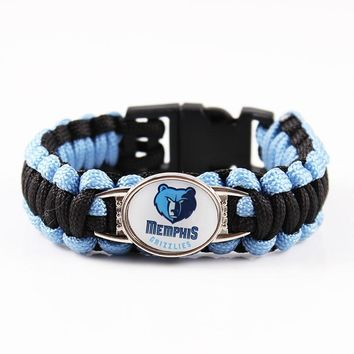 Mix 19 Color Can Choose American Professional Basketball Memphis Grizzlies Team Charms Paracord Bracelet Outdoor Survival Bangle