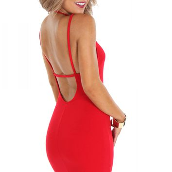 High Neck RIb Bodycon Red