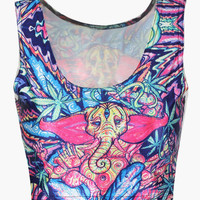 Blue Thai Elephant Print Sleeveless Cropped Top