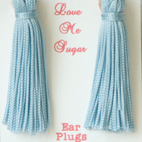 Baby blue or lilac long tassel ear plugs Breakfast at Tiffanys style