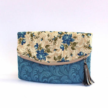 Retro floral evening bag, blue summer bag, floral beige bag, clutch floral beige blue, fashion blue bag, handbag blue clutch, blue city bag