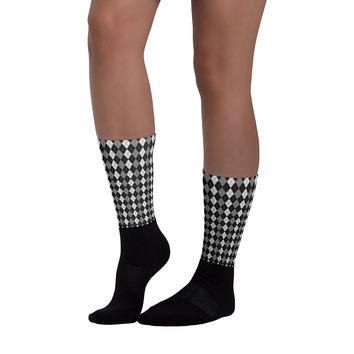 legzo socks - black & white argyle