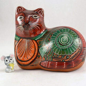 Cat Figurine - Hand Painted Mexico Red Clay - Resting Gato - Large Size Folk Art