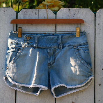 Crocheted Edge Denim Cut Off Lace Shorts - Coachella Festival Style - Upcycle