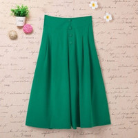 2015 Summer Simple Woman Capris Casual Plus Size High Waist Wide Leg Pants Trousers Fashion Loose Culottes Pantalones 4XL = 1958545668