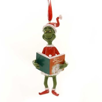 Holiday Ornaments GRINCH WITH THE BOOK Dr Seuss Department 56 6000300.