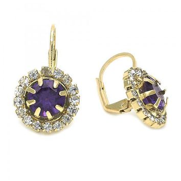 Gold Layered Leverback Earring, Flower Design, with Cubic Zirconia, Gold Tone