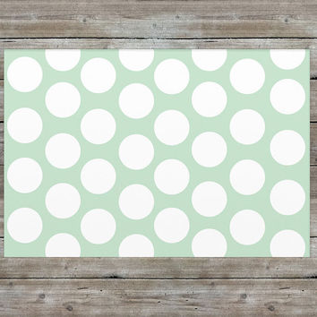 Mint Rug, Nursery Rug, Polka Dot Rug, Girls Room Decor