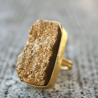 Metallic Gold Agate Druzy Ring Cleopatra Rectangular by OhKuol