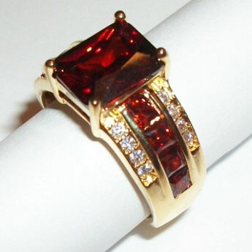 Garnet Ring 14KGF Red Emerald Cut with Cubic Zirconia Women's Size 8 Elegant Costume Jewelry January Birthstone Gift