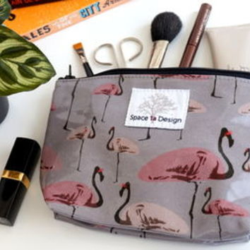 Grey Make Up Bag With Flamingo Party Print