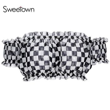 Sweetown Vogue Checkerboard Chiffon Crop Top Tees Off Shoulder Ruffles Beach Tank Top Sexy Summer Tops For Women 2018 Shirts