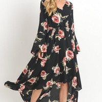 Cloud Nine Floral Print Maxi Dress - Black