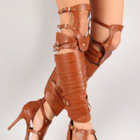 Women's Breckelle Cut Out Strappy Knee High Heel